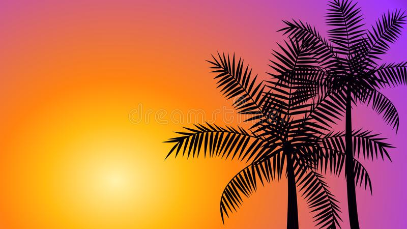 Coconut palm trees at sunset. Silhouette coconut palm trees at sunset, summer tropical banner vector background vector illustration