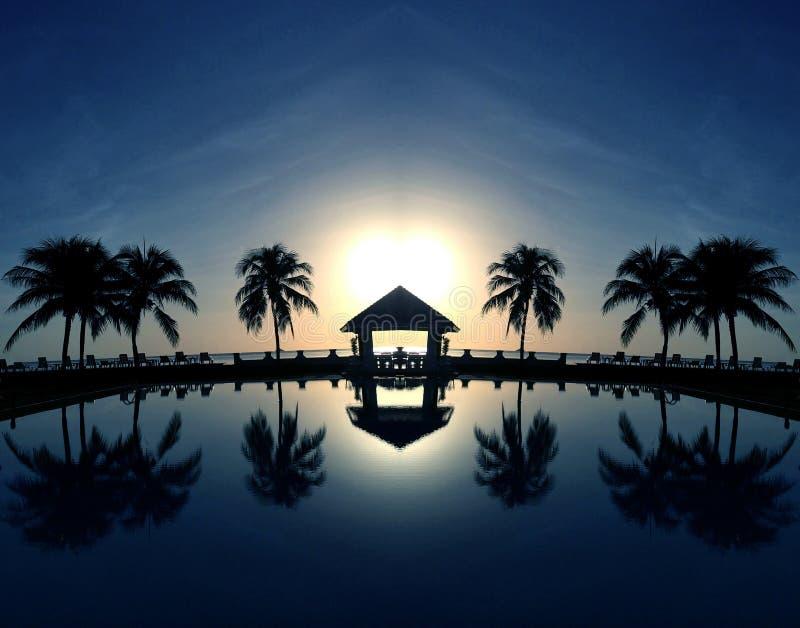 Coconut palms on sand beach royalty free stock photos