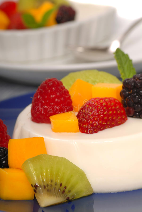 Coconut Panna Cotta With Tropical Fruit Royalty Free Stock Photos