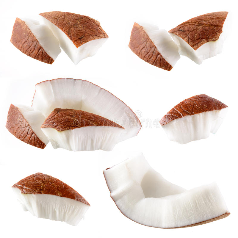 Download Coconut. Pieces Isolated On A White Stock Photo - Image: 37190998