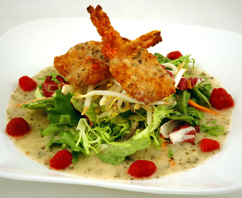Coconut Shrimp Salad stock image