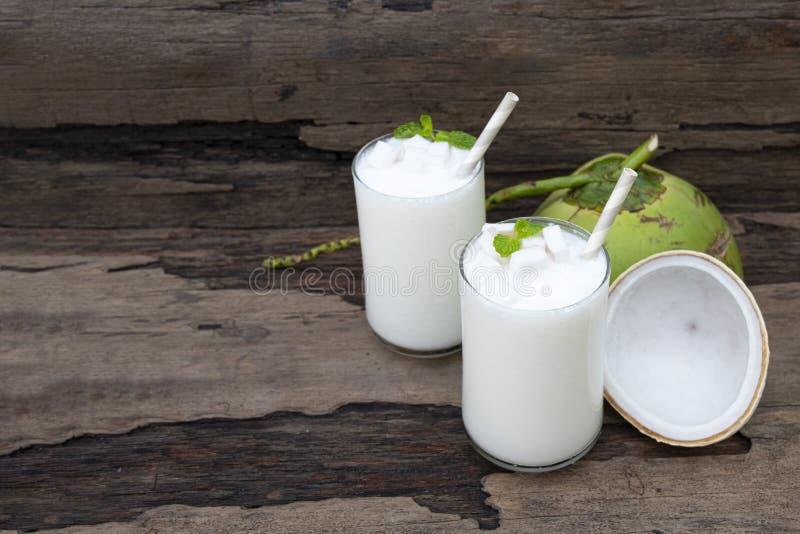 Coconut smoothies white fruit juice milkshake blend beverage healthy . Coconut smoothies white fruit juice milkshake blend beverage healthy high protein the royalty free stock photos