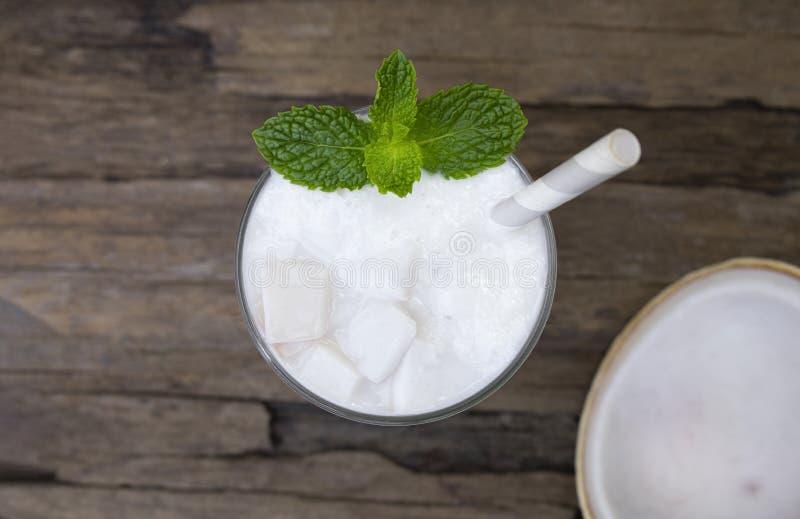 Coconut smoothies white fruit juice milkshake blend beverage healthy high protein . royalty free stock photos