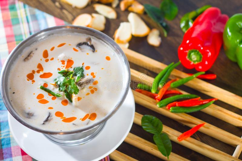 Coconut soup with chicken stock photos