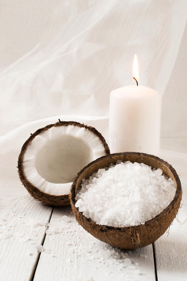 Coconut and spa products royalty free stock image