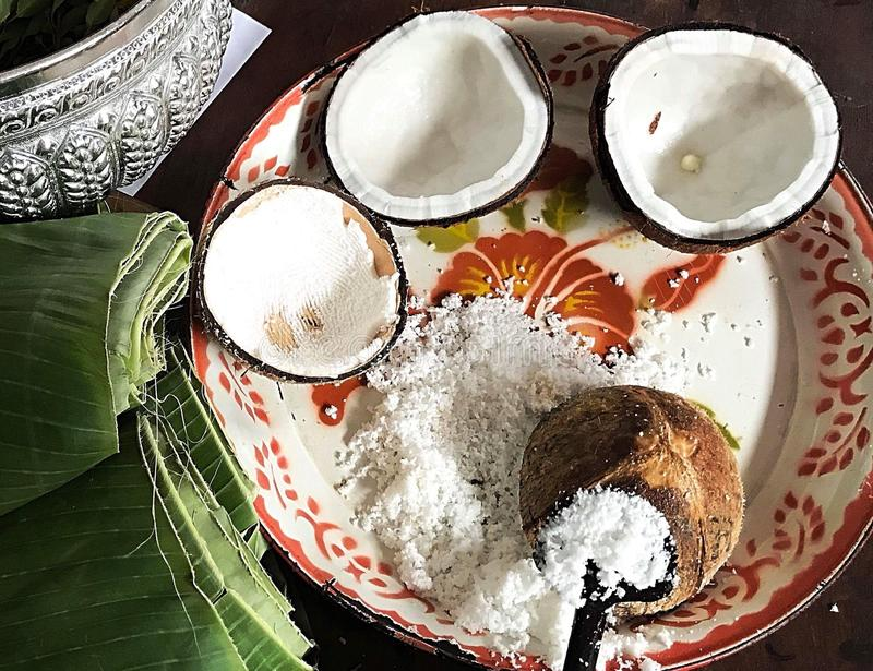 Coconut Thai style. If you think to Thailand, you'll see how to made coconut milk.The part of coconut meat,people apply to do Thai sweet and Thai food royalty free stock images