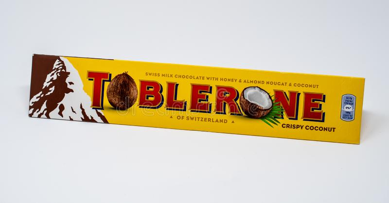 Coconut Toblerone pack. Reading, United Kingdom - December 30 2018: A packet of Coconut flavoured toblorone swiss chocolate bar royalty free stock image