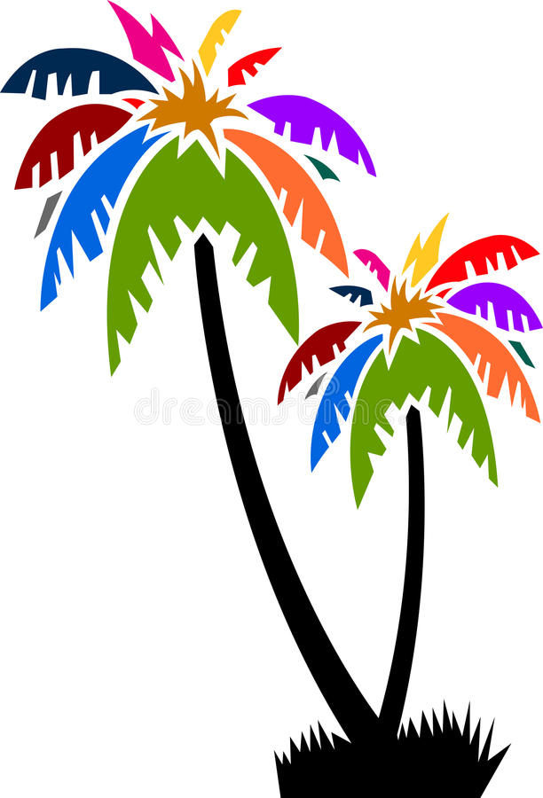 Coconut tree. Illustration art of a colourful coconut tree with isolated background royalty free illustration