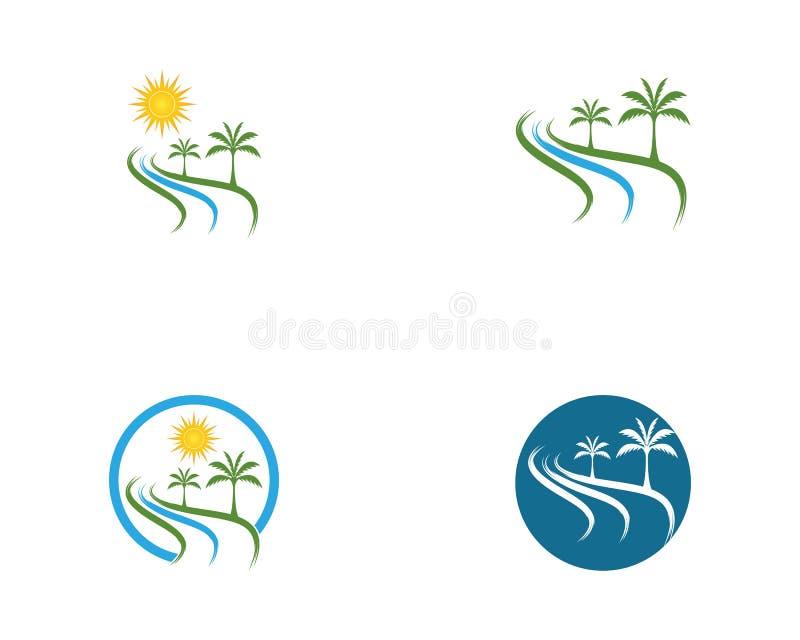 Coconut tree logo vector.  stock illustration