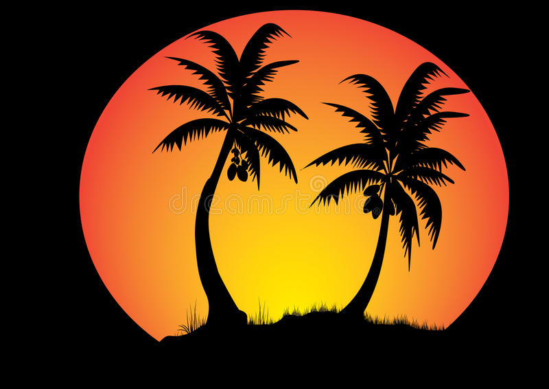 Coconut trees. Two coconut trees with sunset background in a circle stock illustration