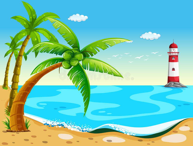 Coconut trees at the beach vector illustration