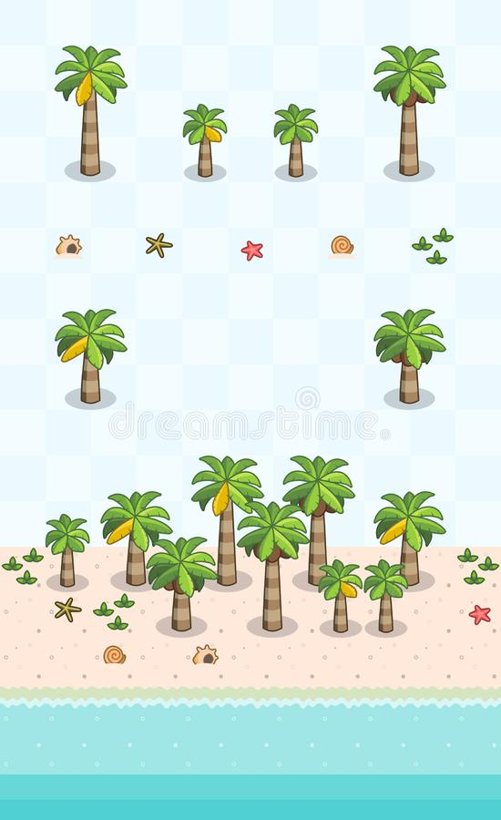 Coastal Plants Set Coconut Beach. Coconut trees and beach objects for beach scene on oblique projection. Images are designed to align into square grid for easy stock illustration