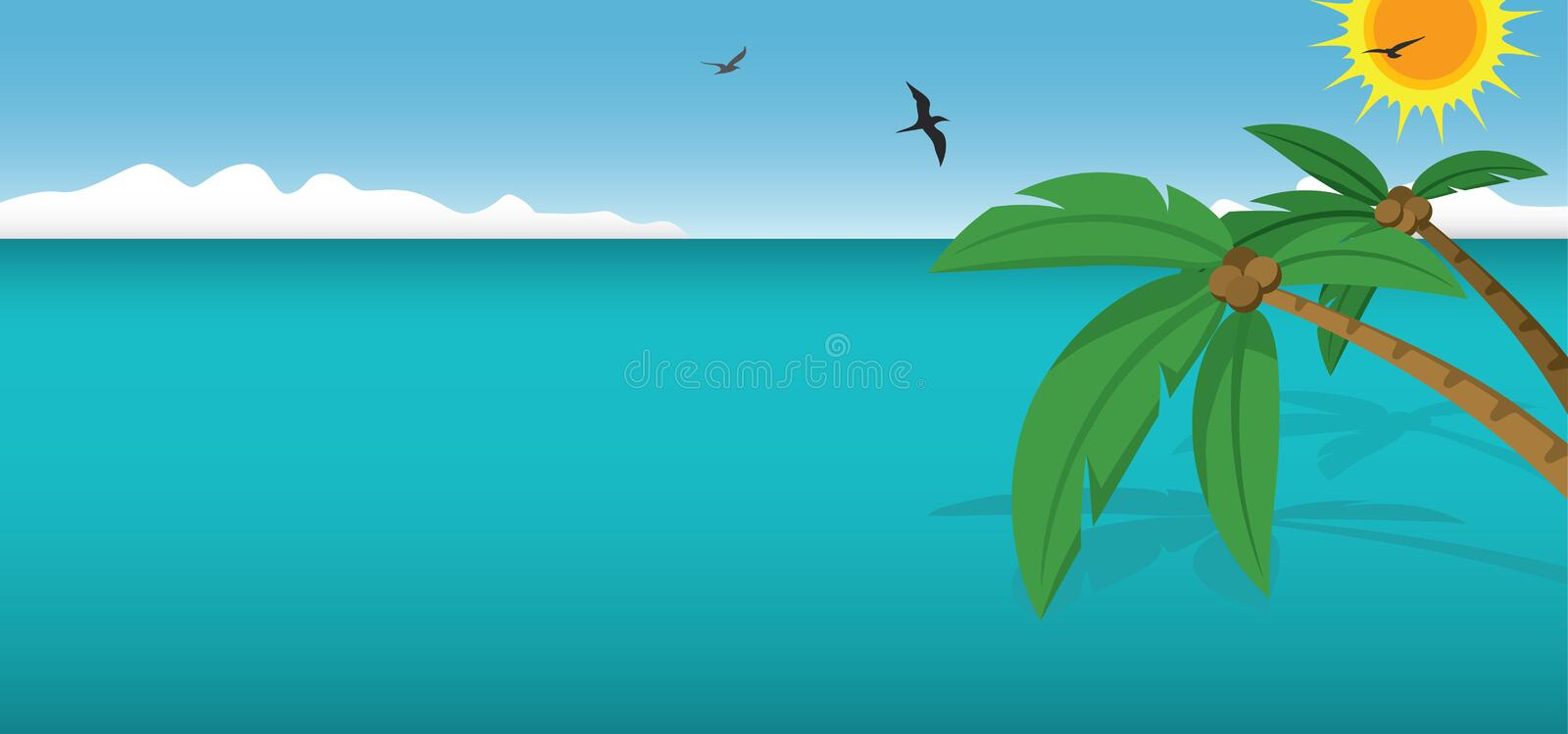 Coconut Trees and Ocean. A beautiful scene of palm trees and the ocean stock illustration