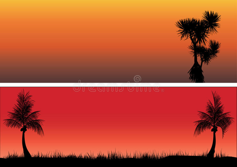 Coconut trees and pandanas in the sunset. Two s one coconut trees other pandanas in the sunset royalty free illustration