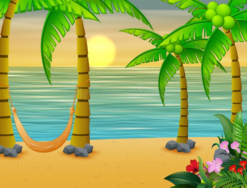 Coconut trees with swing bed on the beach vector illustration