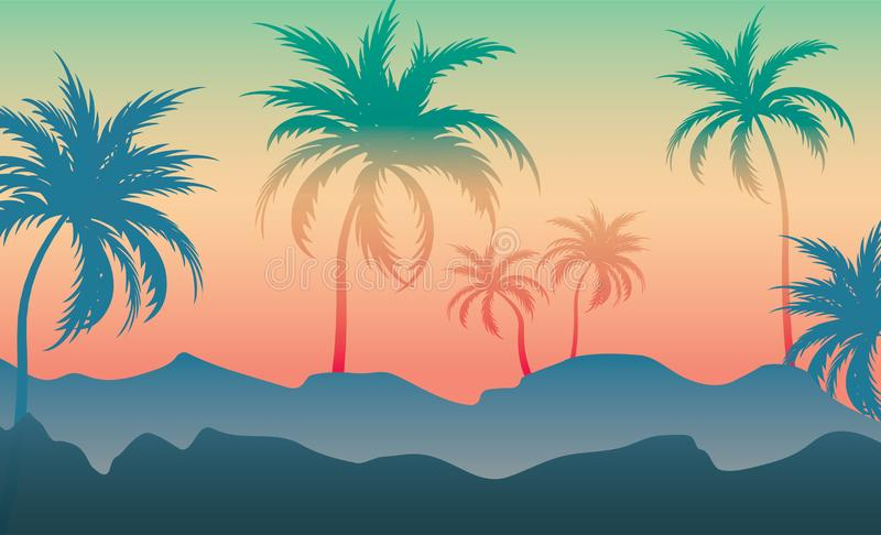 Coconut trees on the white hills Backgrounds. Colorful silhouette, Colorful illustration trends royalty free illustration