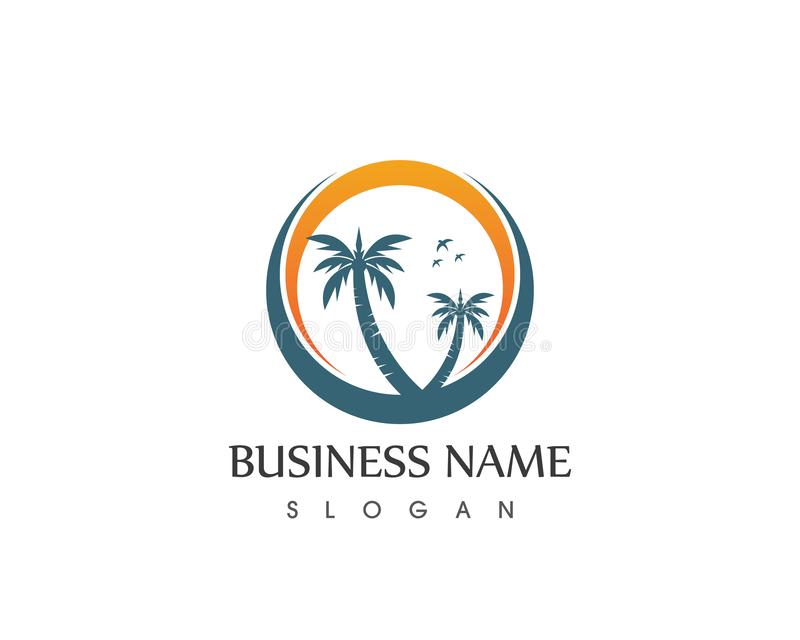 Coconute tree wave beach holidays logo vector.  vector illustration