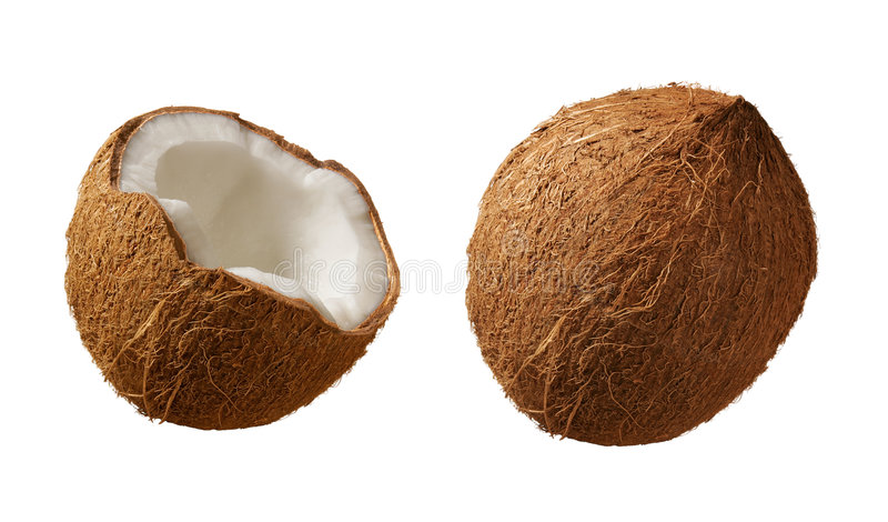 Coconuts. Isolated on a white background. Isolation is on a transparent layer in the PNG format stock photos