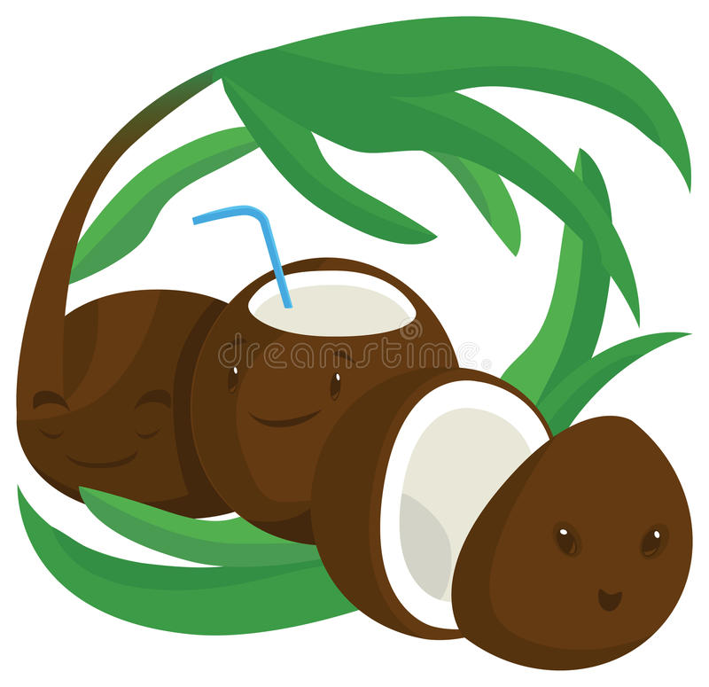 Download Coconuts stock illustration. Illustration of fresh, happy - 25716506