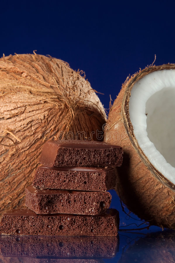 Download Coconuts and Chocolate stock image. Image of broken, treat - 4813501