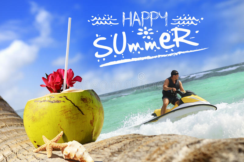 Coconuts And Jetski On The Beach Royalty Free Stock Photo
