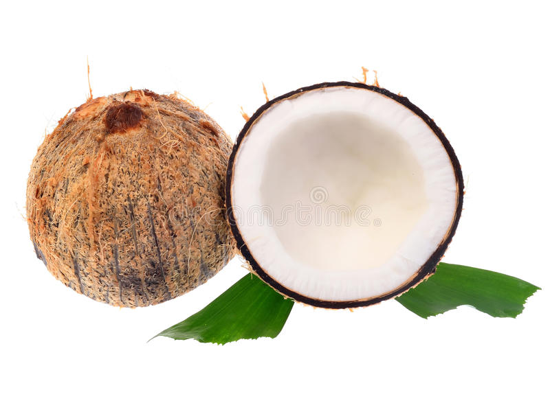 Coconuts With Leaves On A White Background Stock Photos