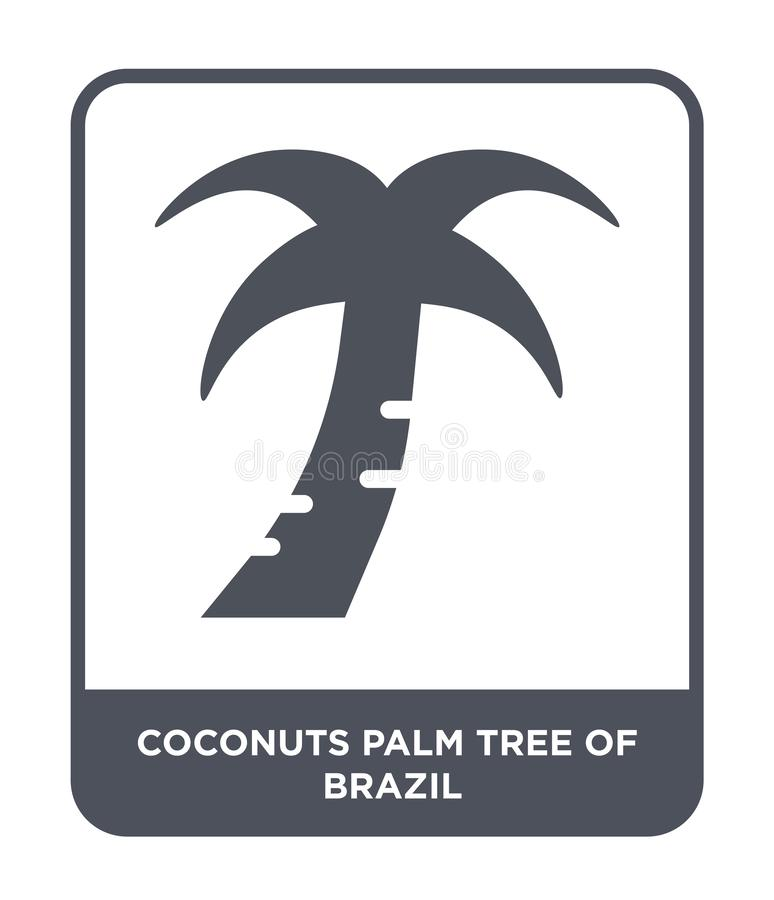coconuts palm tree of brazil icon in trendy design style. coconuts palm tree of brazil icon isolated on white background. coconuts royalty free illustration