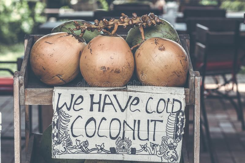 Coconuts for sale on a roadside on Bali island, Indonesia. Coconuts for sale on a roadside on Bali island stock images