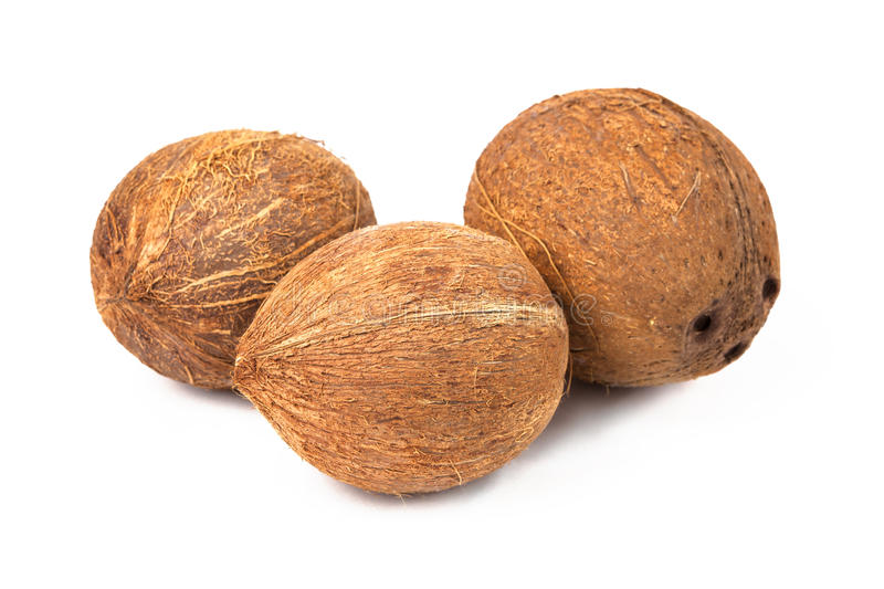 Coconuts On White Royalty Free Stock Photography