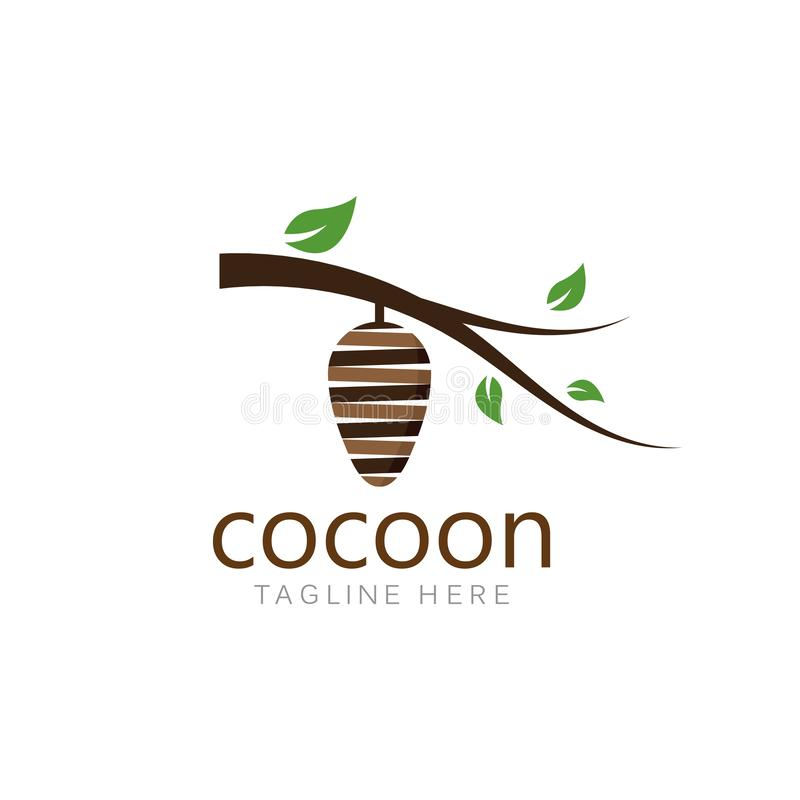 Cocoon logo template vector icon illustration. Design, background, baby, natural, life, cycle, symbol, white, isolated, beautiful, nature, green, color, closeup stock illustration