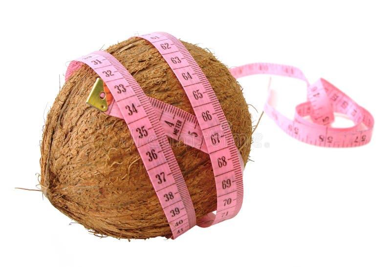 Cocos con cinta métrica rosada sobre el fondo blanco (concepto de él fotografía de archivo