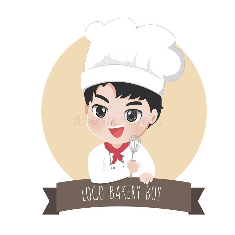 Cocos doces da padaria do menino do cozinheiro chefe do logotipo ilustração stock