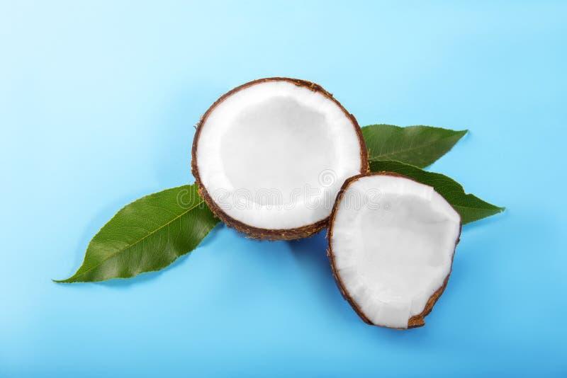 Cocos doces em um fundo azul brilhante Coco cortado nas fatias nas folhas verdes Frutos tropicais coloridos Ingredientes naturais fotografia de stock