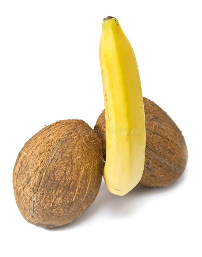 Cocos e uma banana fotografia de stock