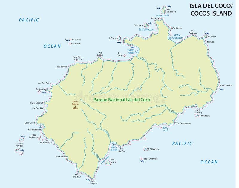 Cocos Iceland mapa, Costa Rica ilustracji