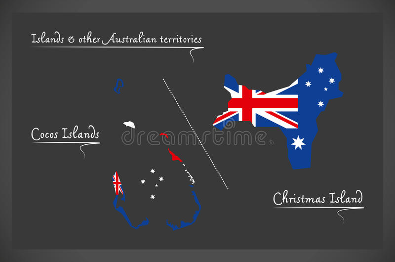 download cocos islands and christmas island map with australian national stock vector illustration of divisions