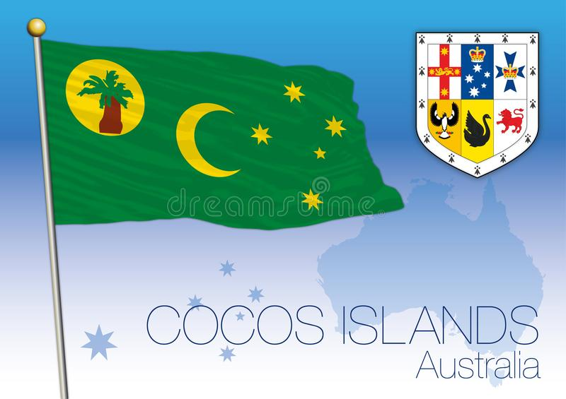 Cocos Islands, flag of the state and territory, Australia royalty free illustration