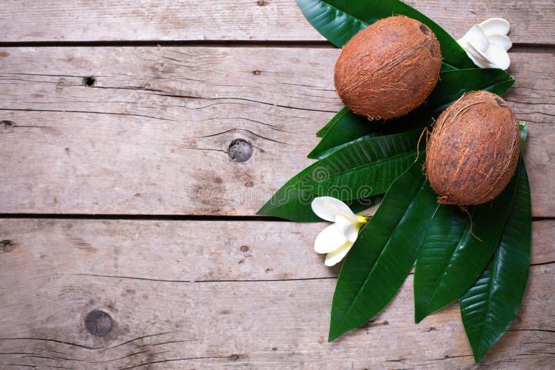 Cocos no fundo de madeira fotos de stock royalty free