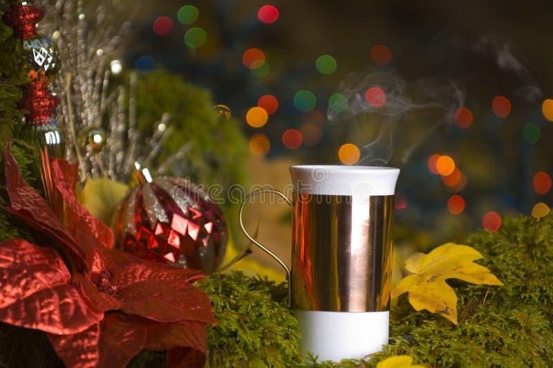 Cocos quentes com decorações do Natal imagem de stock