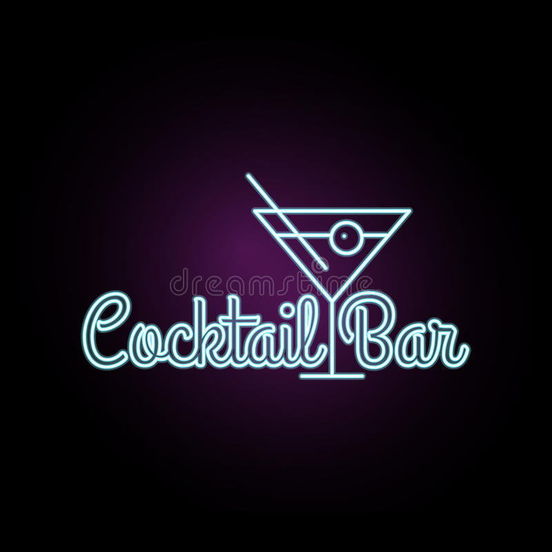 Coctail Bar neon logo design. Isolated on black background. Retro/vintage neon sign. Design element for your ad, signs, posters. Banners. Vector illustration royalty free illustration