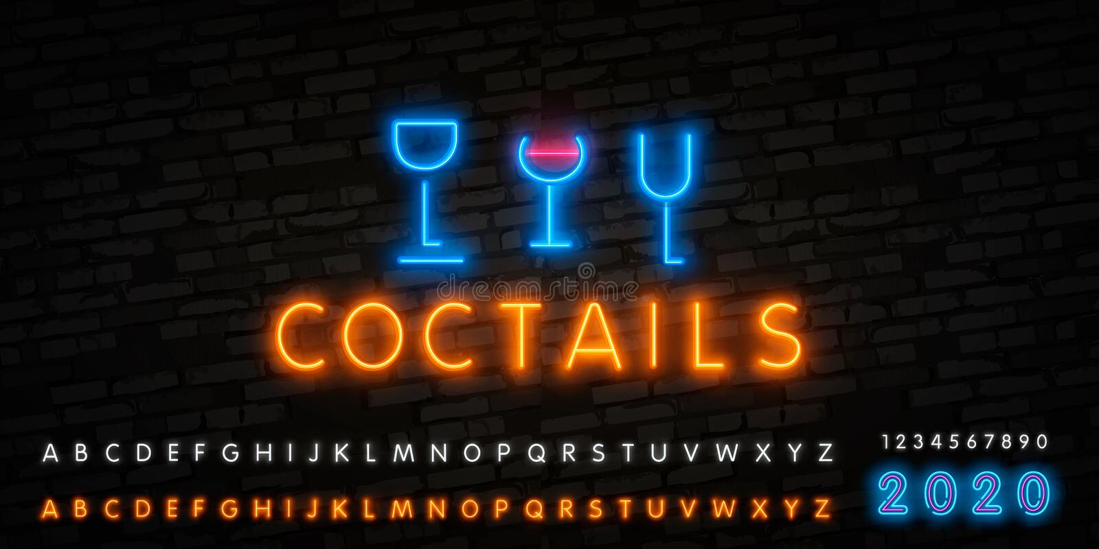 Coctail Bar neon logo design. Isolated on black background. Retro vintage neon sign. Design element for your ad, signs, posters,. Banners stock illustration