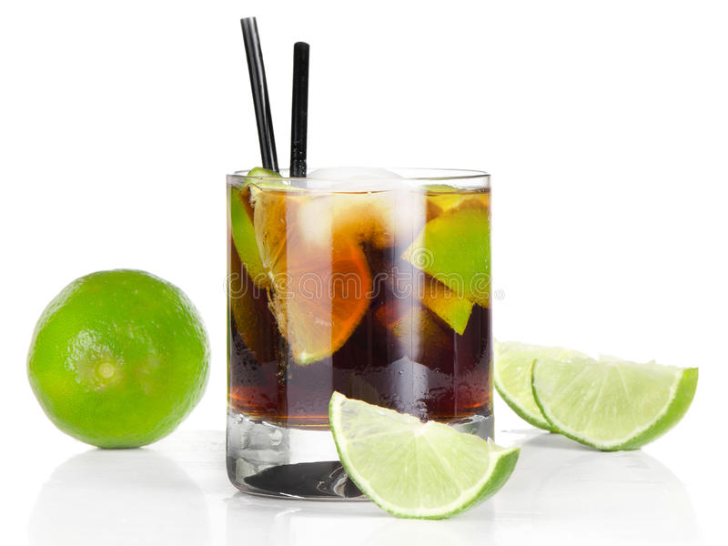 Coctail Cuba Libre. On white background royalty free stock photography