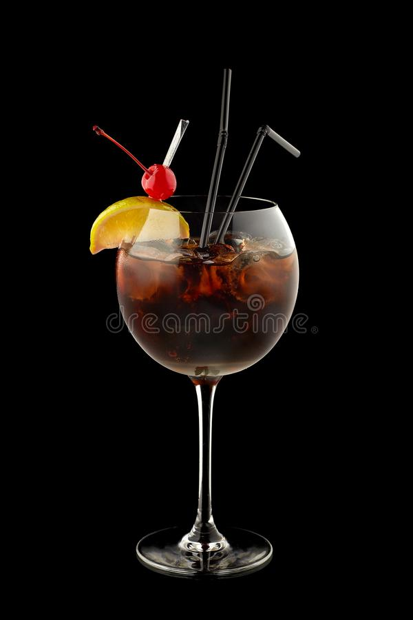 Coctail Cuba Libre. On a black background stock photo