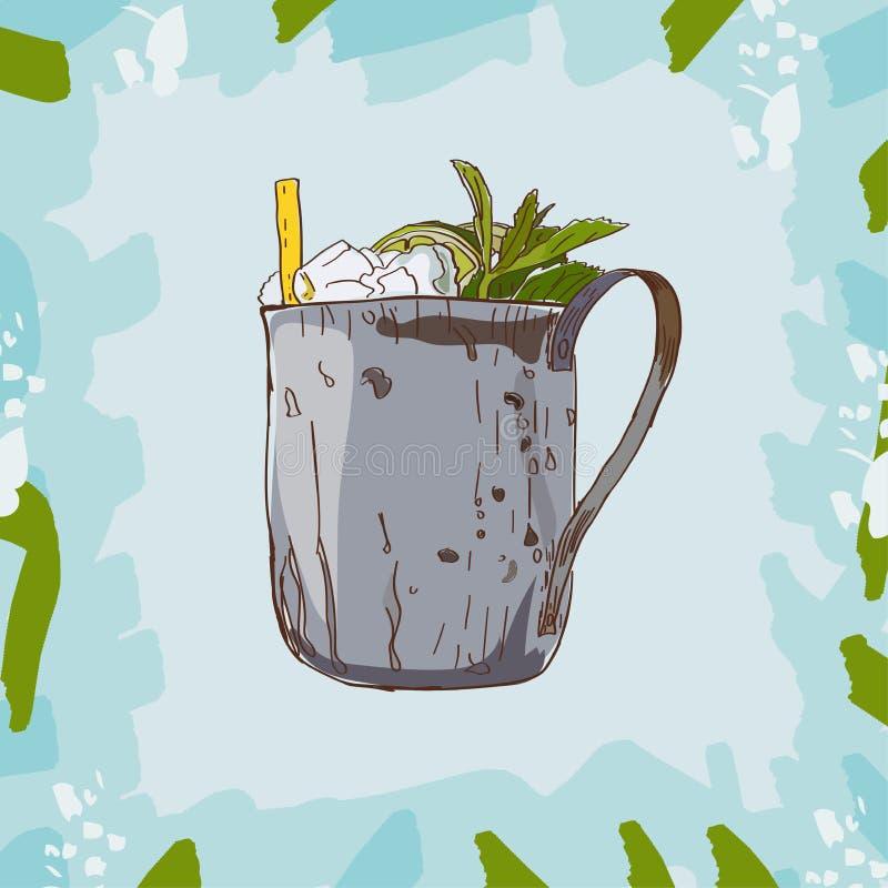 Coctail för mintkaramellsötad medicintillsats Hand tecknad vektorillustration Popkonst royaltyfri illustrationer