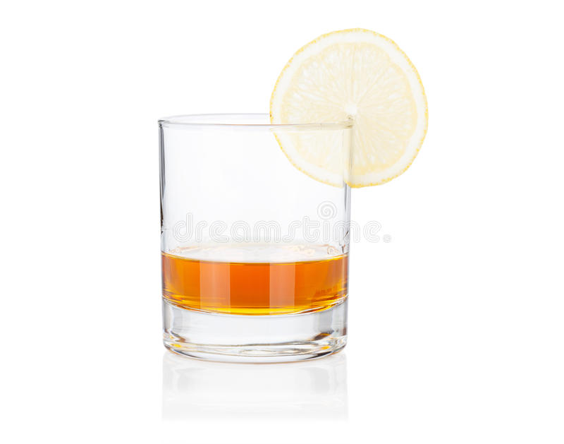 Coctail glass set. Cognac with lemon on white stock photos