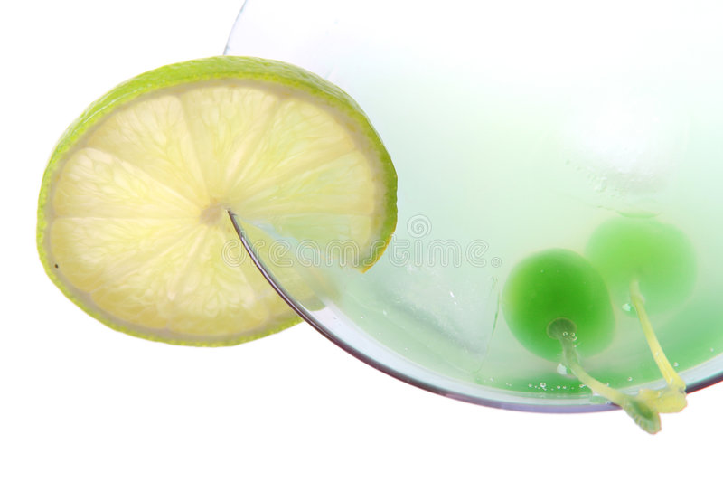 Coctail with lime. Fresh green coctail with lime stock image