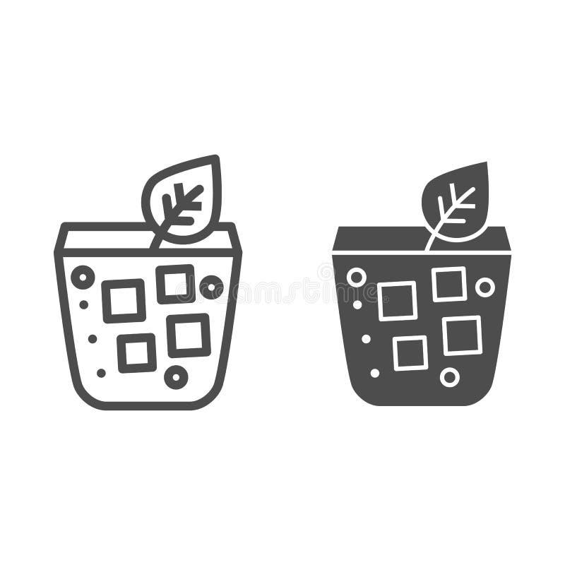 Coctail med blad- och islinjen och skårasymbolen Mojito i exponeringsglasvektorillustrationen som isoleras på vit Drinköversikt royaltyfri illustrationer