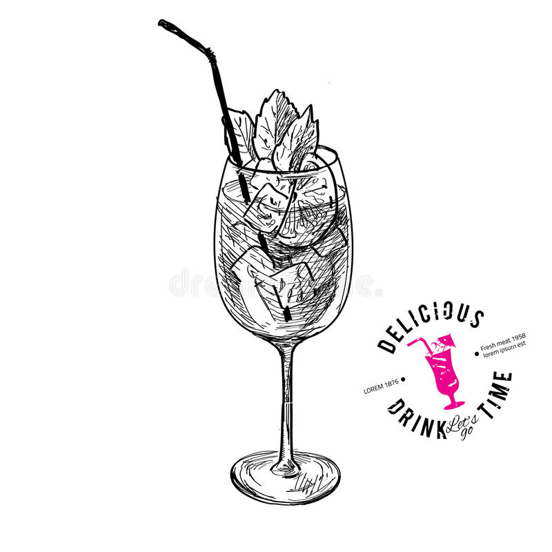 Coctail med cola och limefrukter stock illustrationer