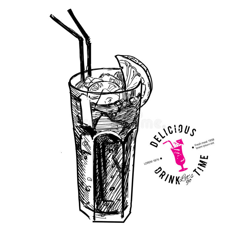 Coctail med isolerade cola och limefrukter royaltyfri illustrationer