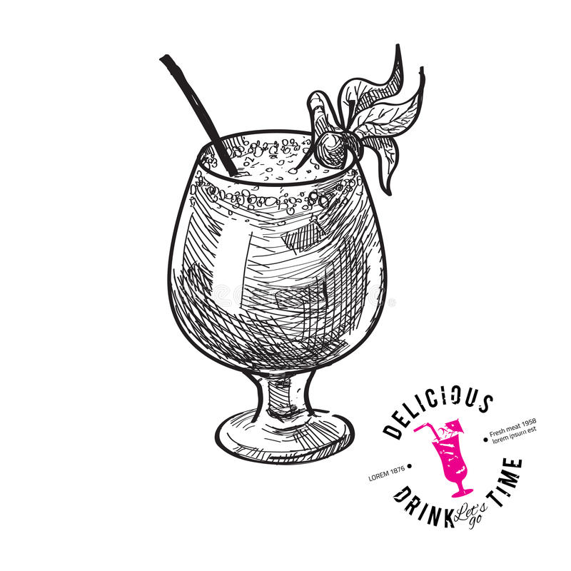 Coctail med isolerade cola och limefrukter stock illustrationer
